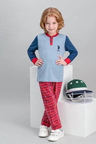 U.S. Polo Assn. U.S. Polo Assn Lisanslı Ekose Mavi Erkek Çocuk Pijama Takımı Mavi